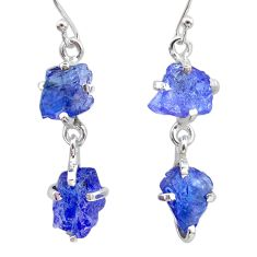 925 sterling silver 11.10cts natural blue tanzanite raw dangle earrings t21207