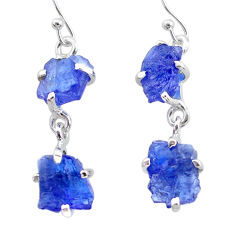 925 sterling silver 11.10cts natural blue tanzanite raw dangle earrings t21211