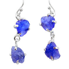 925 sterling silver 12.51cts natural blue tanzanite raw dangle earrings t21215