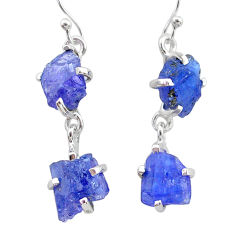 925 sterling silver 12.19cts natural blue tanzanite raw dangle earrings t21219