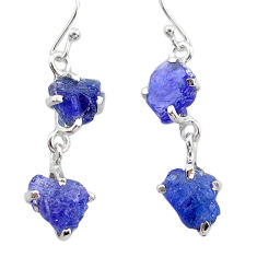 925 sterling silver 11.00cts natural blue tanzanite raw dangle earrings t21224