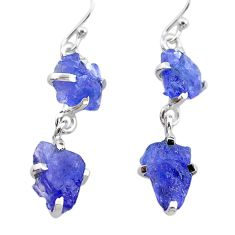 925 sterling silver 11.08cts natural blue tanzanite raw dangle earrings t21227