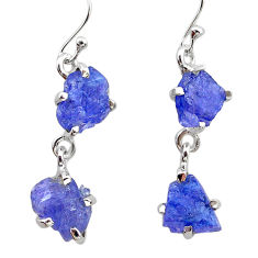 925 sterling silver 10.11cts natural blue tanzanite raw dangle earrings t21230