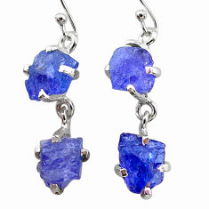 925 sterling silver 13.05cts natural blue tanzanite raw dangle earrings t21233