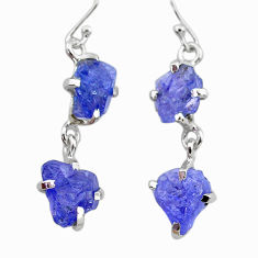925 sterling silver 11.86cts natural blue tanzanite raw dangle earrings t21236