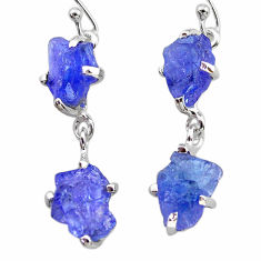 925 sterling silver 11.54cts natural blue tanzanite raw dangle earrings t21239