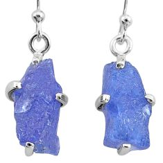 925 sterling silver 9.45cts natural blue tanzanite raw dangle earrings t6532