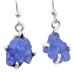 925 sterling silver 7.16cts natural blue tanzanite raw earrings jewelry t6540