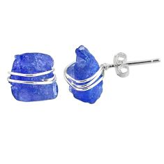925 sterling silver 10.09cts natural blue tanzanite raw stud earrings r79715
