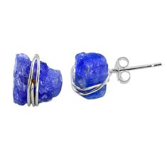 925 sterling silver 9.40cts natural blue tanzanite raw stud earrings r79719