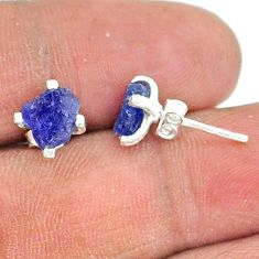 925 sterling silver 4.18cts natural blue tanzanite raw stud earrings t15387