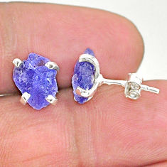 925 sterling silver 5.21cts natural blue tanzanite raw stud earrings t6876