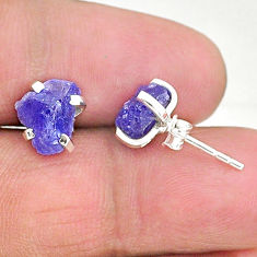 925 sterling silver 6.27cts natural blue tanzanite raw stud earrings t6879