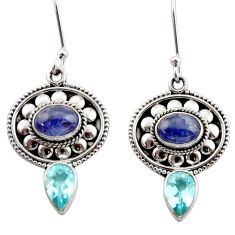 925 sterling silver 6.32cts natural blue tanzanite topaz dangle earrings d40671