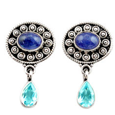 Clearance Sale- 925 sterling silver 6.35cts natural blue tanzanite topaz dangle earrings d40678