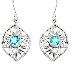 925 sterling silver 5.08cts natural blue topaz dangle earrings jewelry d40096