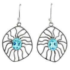 Clearance Sale- 925 sterling silver 6.39cts natural blue topaz dangle earrings jewelry d40104
