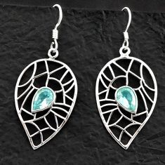Clearance Sale- 925 sterling silver 3.89cts natural blue topaz dangle earrings jewelry d40610