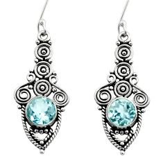 Clearance Sale- 925 sterling silver 2.46cts natural blue topaz dangle earrings jewelry d40810