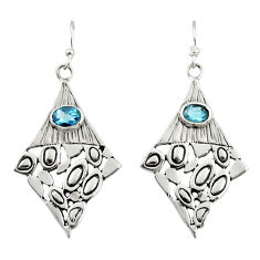 925 sterling silver 3.01cts natural blue topaz dangle earrings jewelry d47173