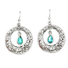 925 sterling silver 2.23cts natural blue topaz dangle earrings jewelry r33056