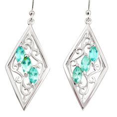 925 sterling silver 6.03cts natural blue topaz dangle earrings jewelry r36668