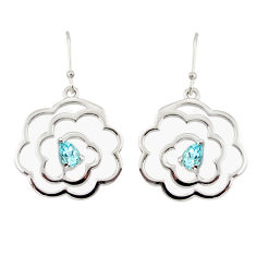 925 sterling silver 2.41cts natural blue topaz dangle earrings jewelry r36730