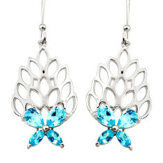 925 sterling silver 6.89cts natural blue topaz dangle earrings jewelry r36733