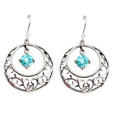 925 sterling silver 2.70cts natural blue topaz dangle earrings jewelry r36797
