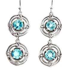 925 sterling silver 5.23cts natural blue topaz dangle earrings jewelry r36827