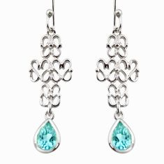 925 sterling silver 3.22cts natural blue topaz dangle earrings jewelry r36887