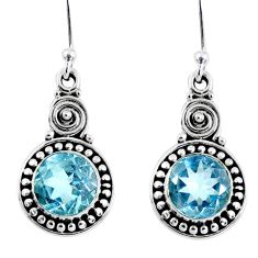 925 sterling silver 4.69cts natural blue topaz dangle earrings jewelry r55324