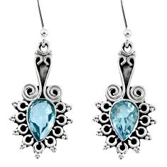 925 sterling silver 4.22cts natural blue topaz dangle earrings jewelry r55331