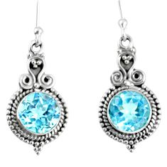 925 sterling silver 6.26cts natural blue topaz dangle earrings jewelry r59788