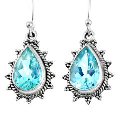 925 sterling silver 9.37cts natural blue topaz dangle earrings jewelry r59800