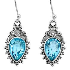 925 sterling silver 5.54cts natural blue topaz dangle earrings jewelry r60518