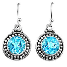 925 sterling silver 6.02cts natural blue topaz dangle earrings jewelry r60576