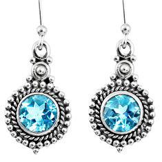 925 sterling silver 5.11cts natural blue topaz dangle earrings jewelry r60664