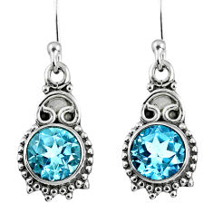 925 sterling silver 4.18cts natural blue topaz dangle earrings jewelry r60668