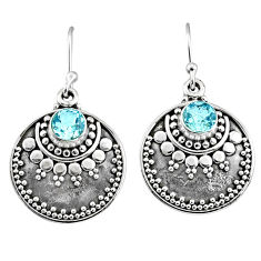 925 sterling silver 3.28cts natural blue topaz dangle earrings jewelry r65124