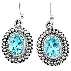 925 sterling silver 3.77cts natural blue topaz dangle earrings jewelry r65144