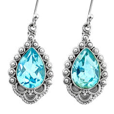 925 sterling silver 5.54cts natural blue topaz dangle earrings jewelry r67144