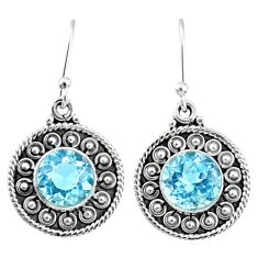 925 sterling silver 6.02cts natural blue topaz dangle earrings jewelry r67264