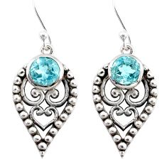 925 sterling silver 2.63cts natural blue topaz dangle earrings jewelry r67884