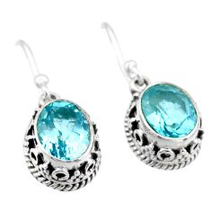 925 sterling silver 5.75cts natural blue topaz dangle earrings jewelry t46866