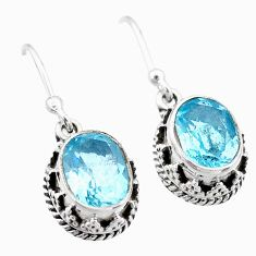 925 sterling silver 5.56cts natural blue topaz dangle earrings jewelry t46888