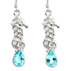 925 sterling silver 4.90cts natural blue topaz dangle seahorse earrings d40259