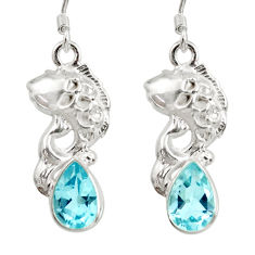 Clearance Sale- 925 sterling silver 5.75cts natural blue topaz fish earrings jewelry d40254