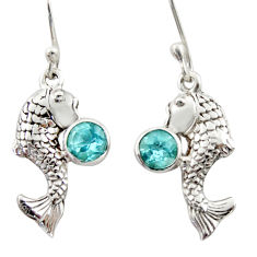 925 sterling silver 2.23cts natural blue topaz fish earrings jewelry d46794