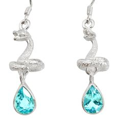Clearance Sale- 925 sterling silver 4.54cts natural blue topaz snake earrings jewelry d40247
